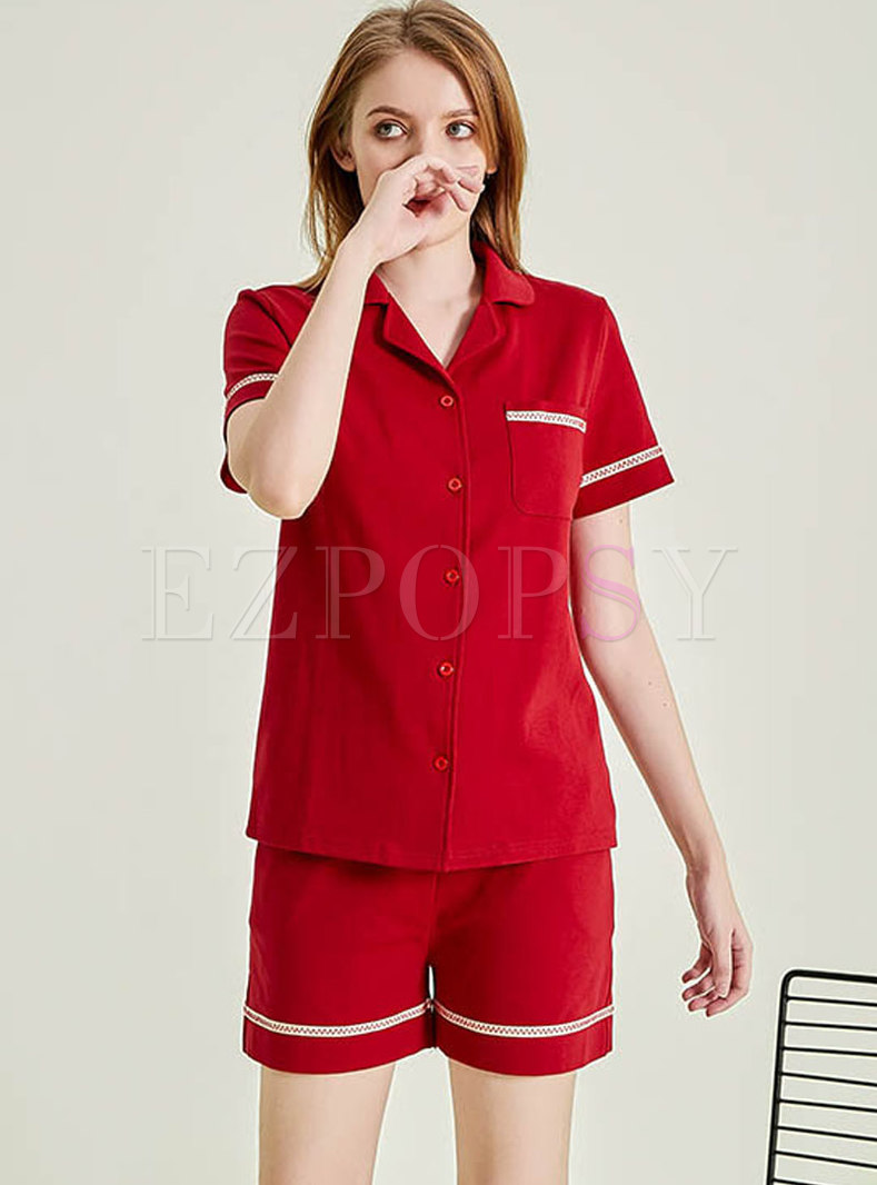 Color Block Button Down Shorts Pajama Set with Pockets