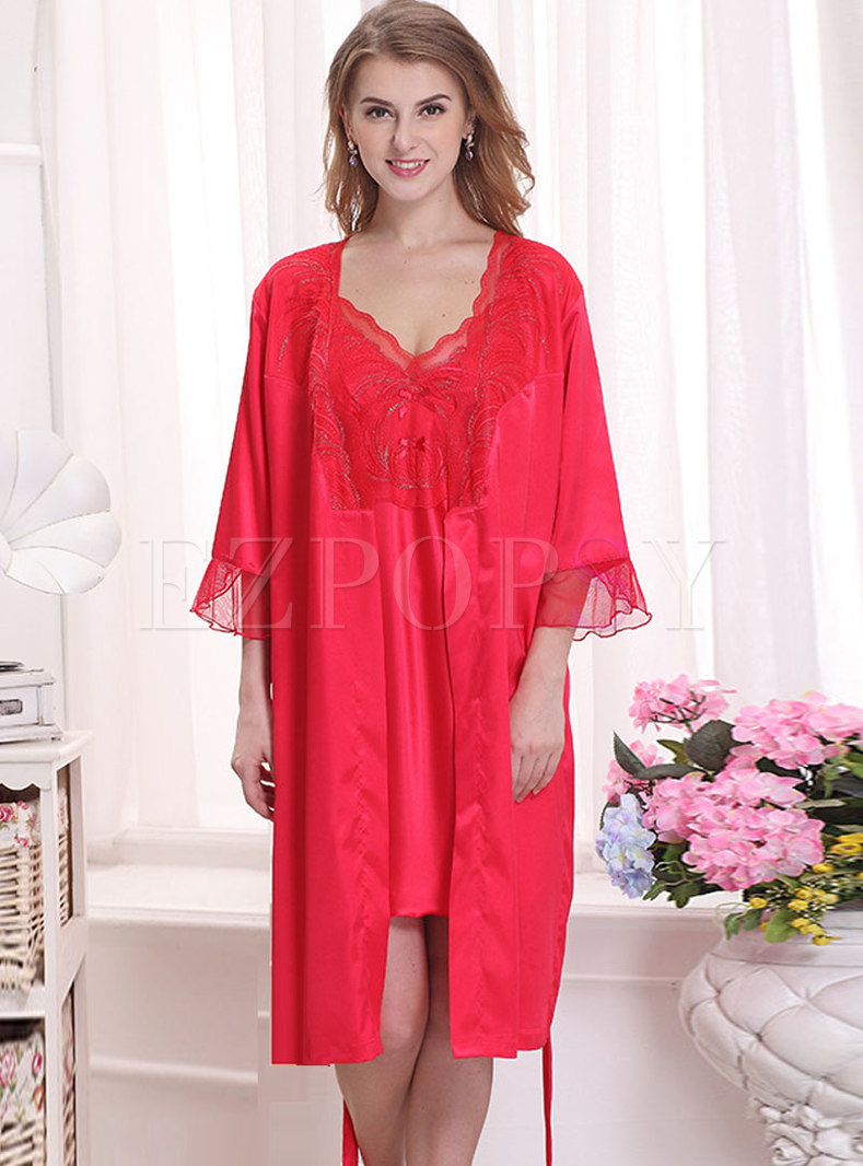 Patchwork Lace Embroidered Nightgown Robe Set