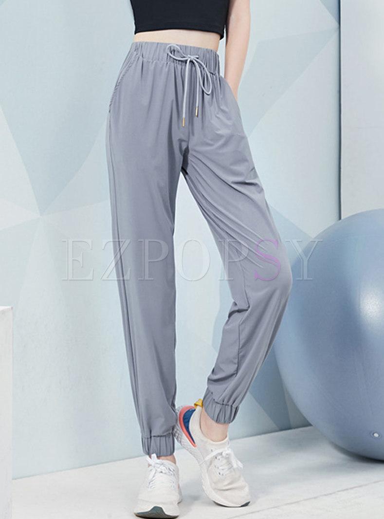 Elastic Waist Drawstring Sports Pants