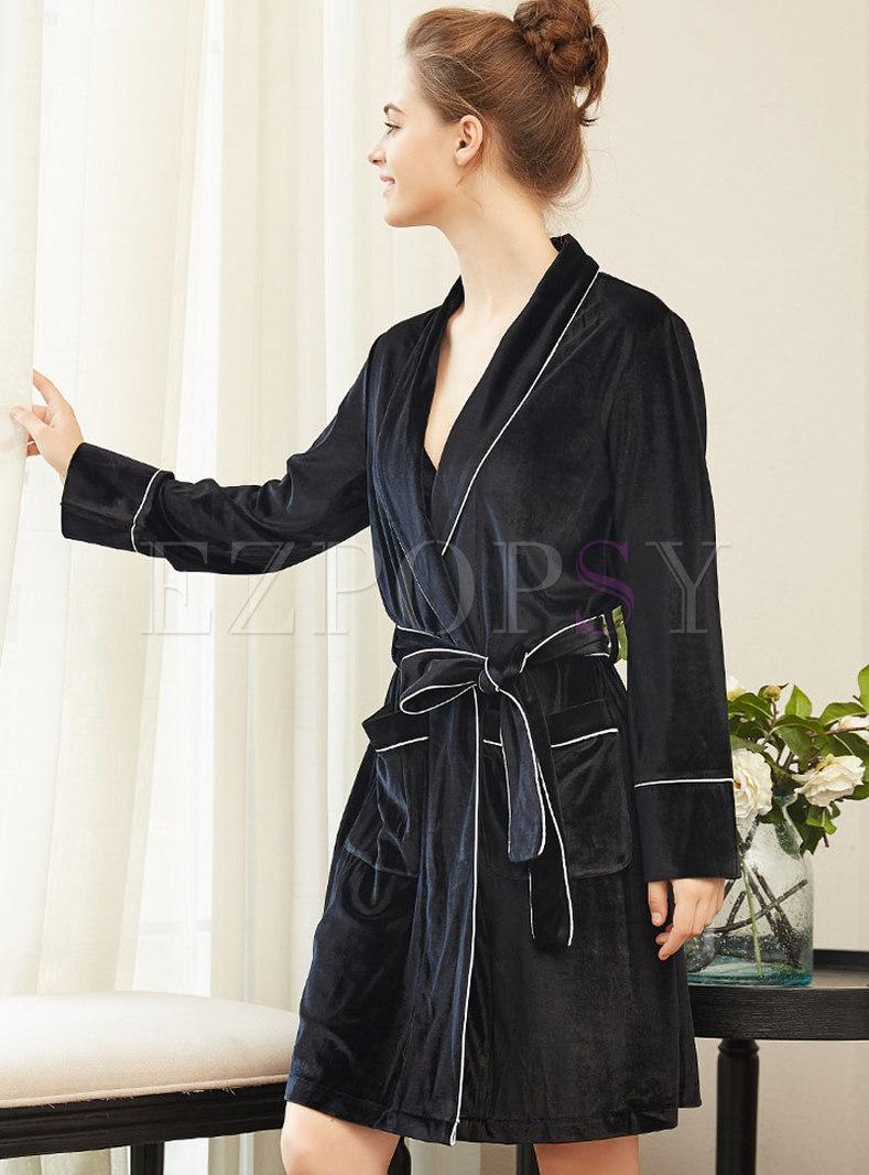 Lapel Loose Velvet Wrap Robe With Pockets