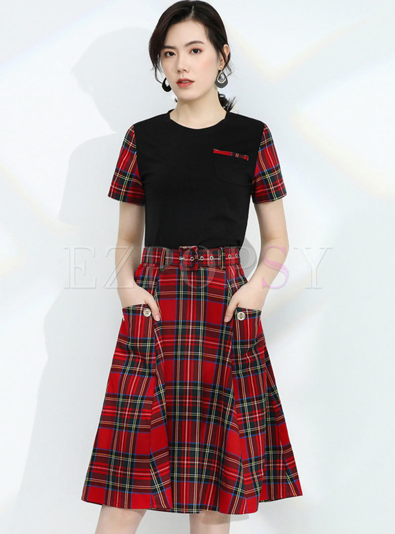 Plaid Belted A Line Two Piece Dress