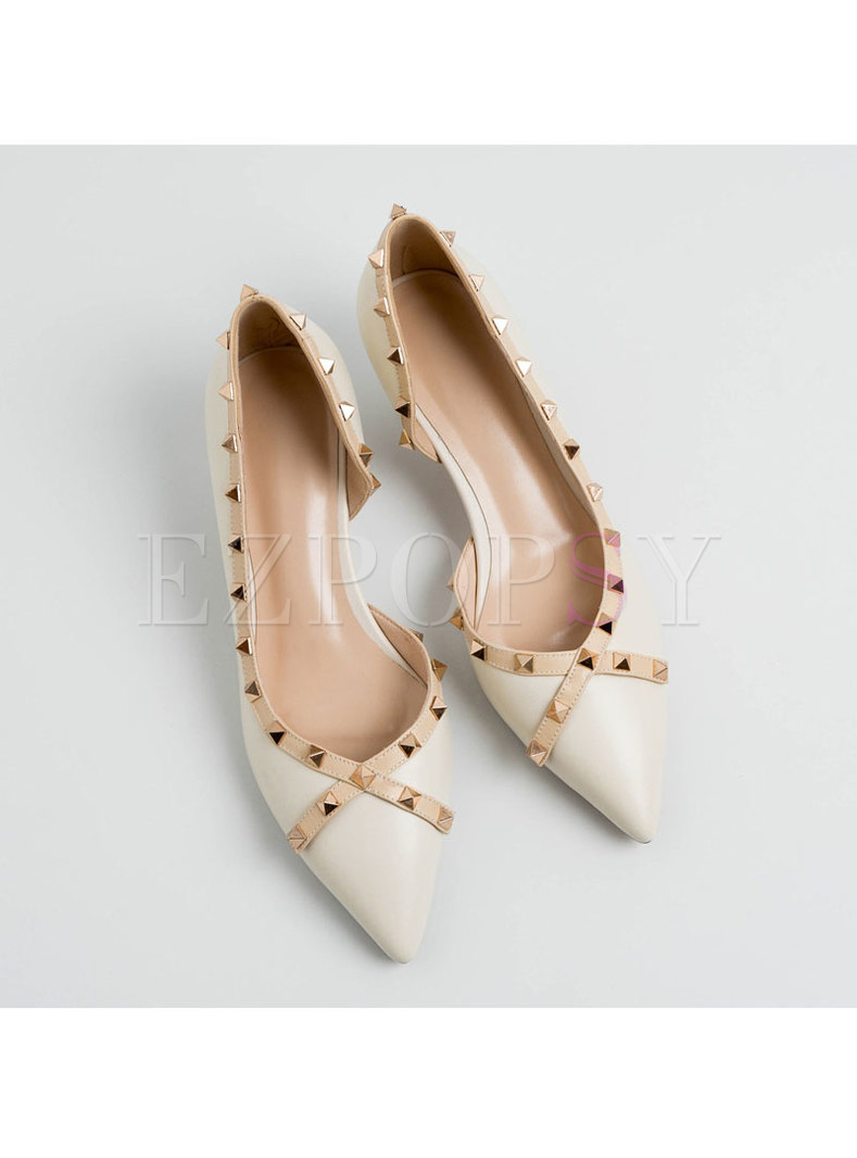 Pointed Toe Rivet Low-fronted Pumps