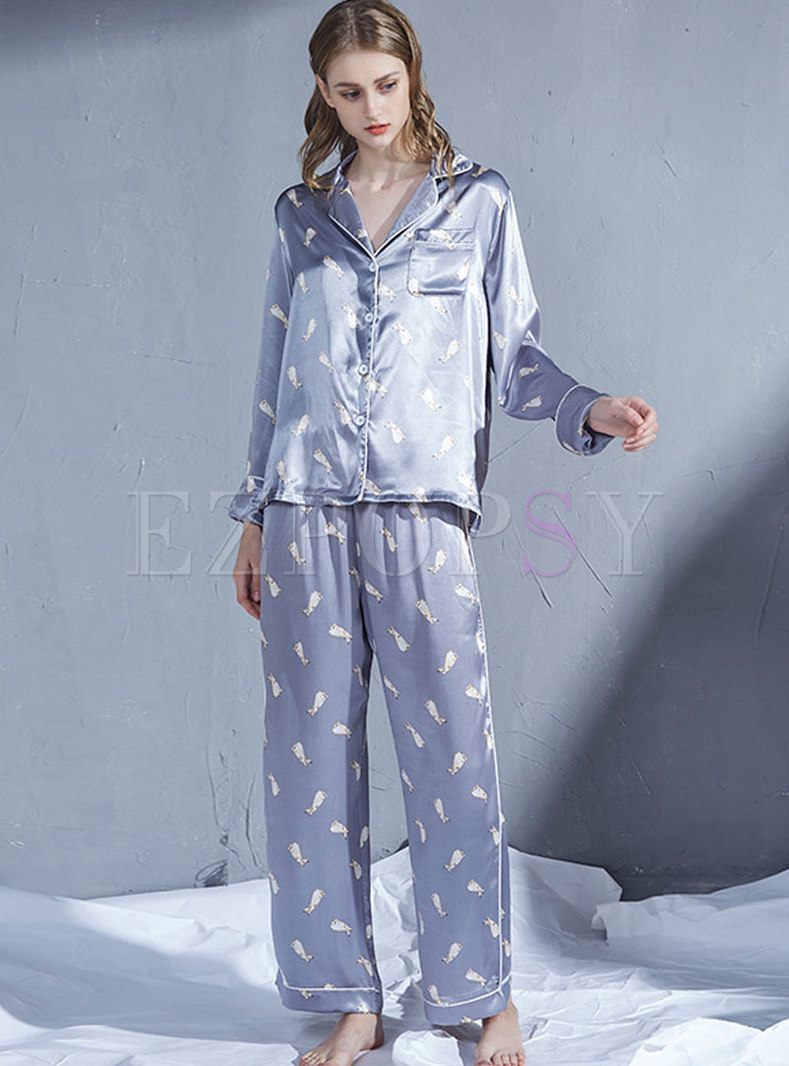 Notched Print Single-breasted Pajama Set
