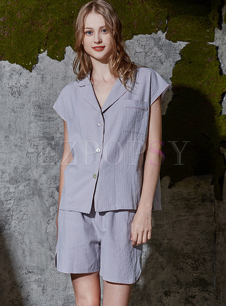 Solid Color Cap Sleeve Wide Leg Pajama Set