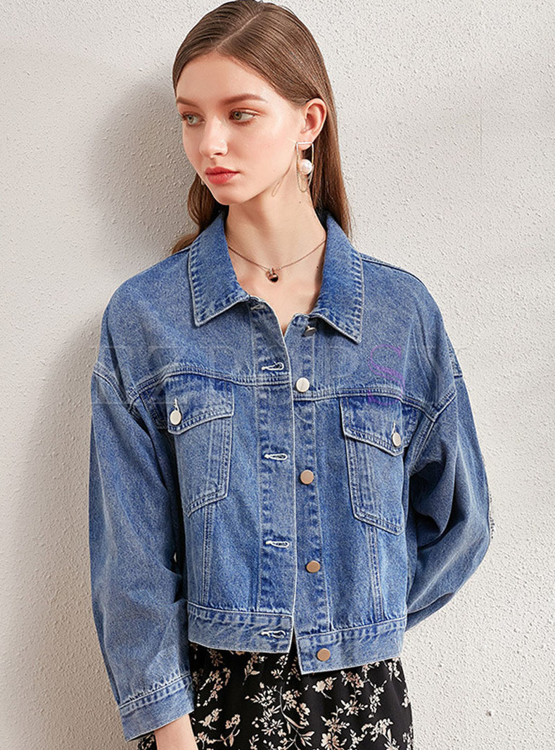 Lapel Lace Patchwork Short Denim Jacket