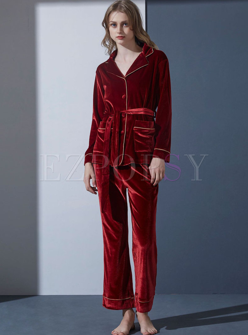Lapel Long Sleeve Velvet Pajama Set