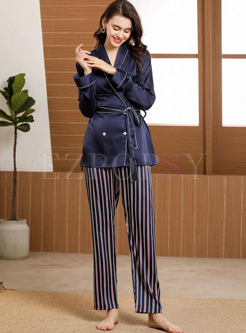 V-neck Letter Print Striped Pajama Set