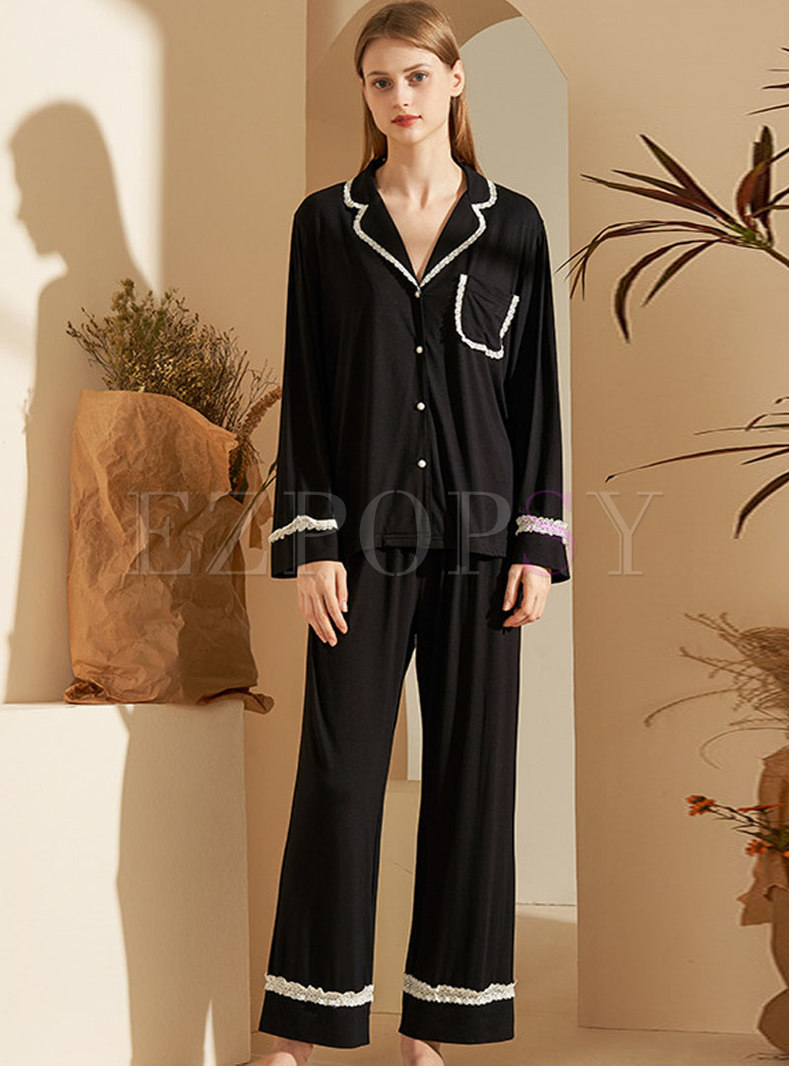 Lace Patchwork Loose Pajama Set With Pocket