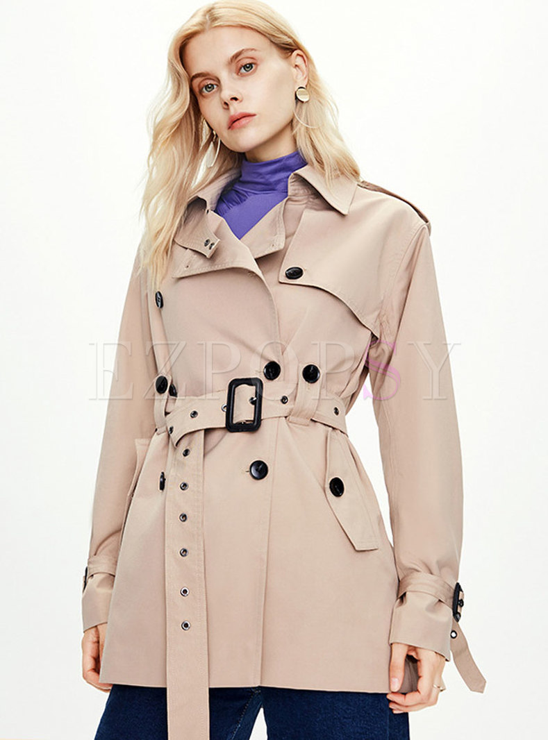 Lapel Solid Color Belted Trench Coat