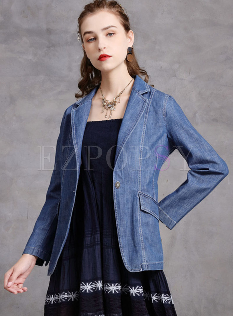 Blue Notched Single-breasted Slim Denim Blazer
