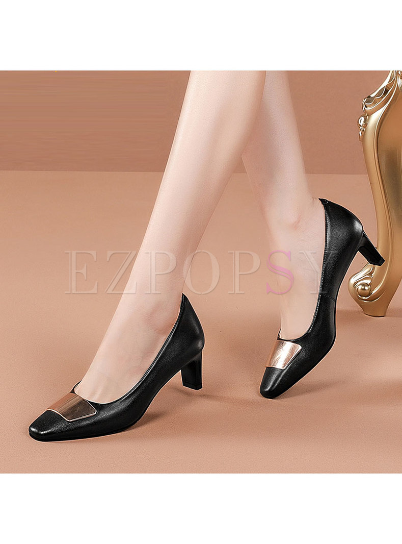 Metal Decoration Square Toe Brief Pumps