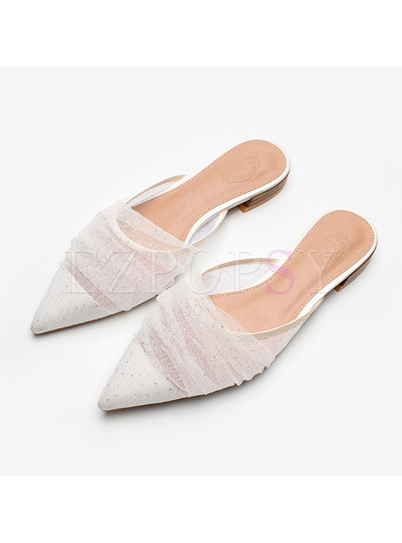 Pointed Toe Sequin Mesh Patchwork Slippers