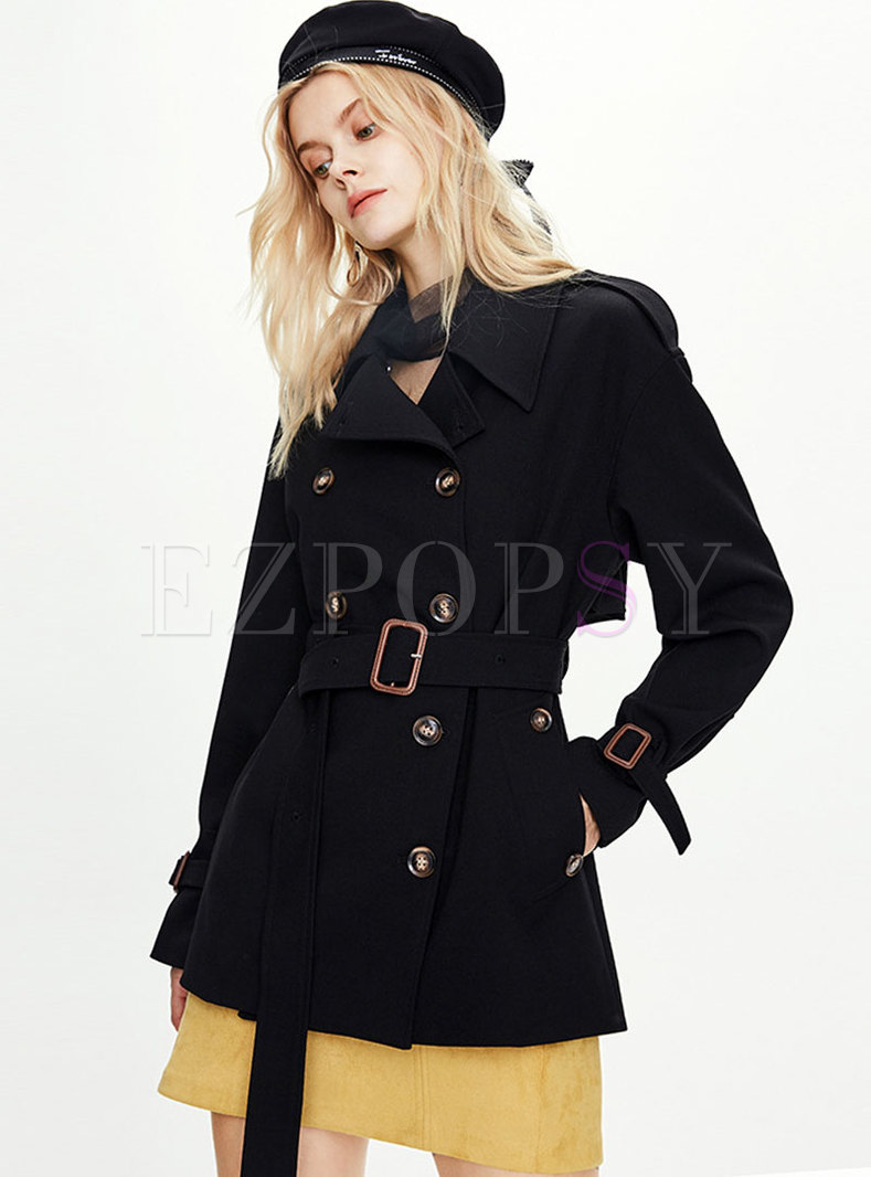 Lapel Double-breasted Thicken Trench Coat