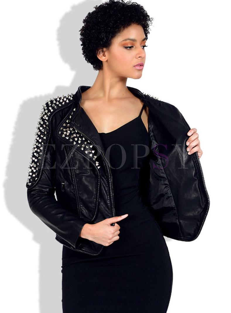 Black Rivet Slim Biker PU Jacket