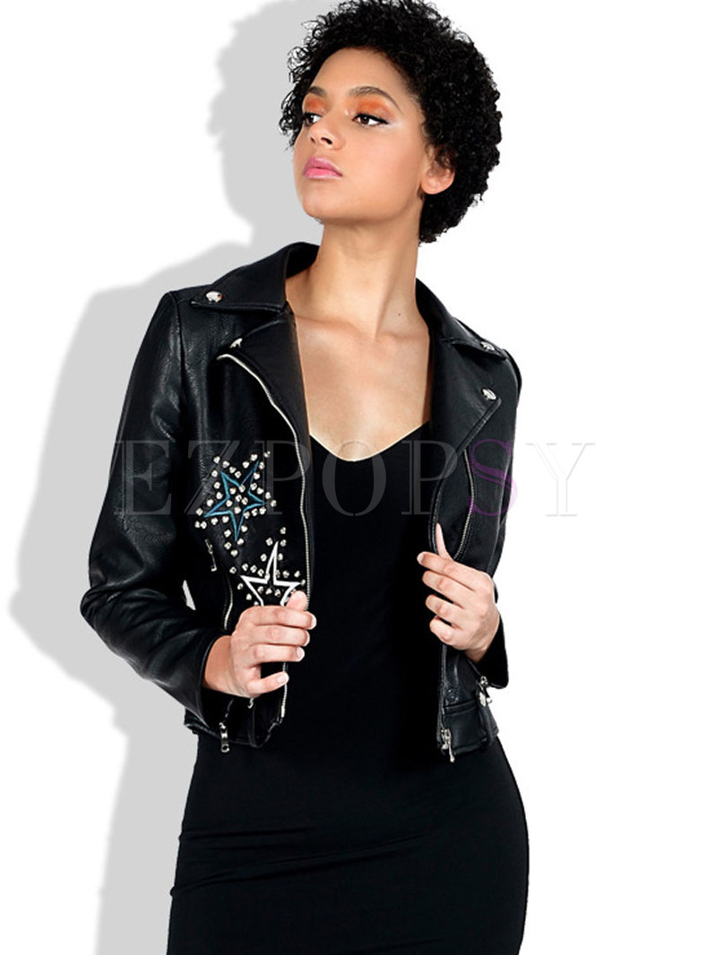 Embroidered Rivet Side Zipper Biker Jacket