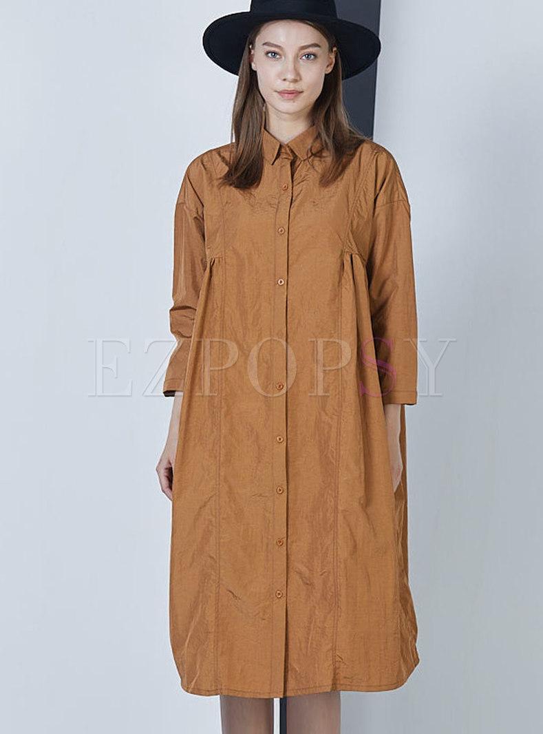 Plus Size Lapel Solid Color Shift Dress