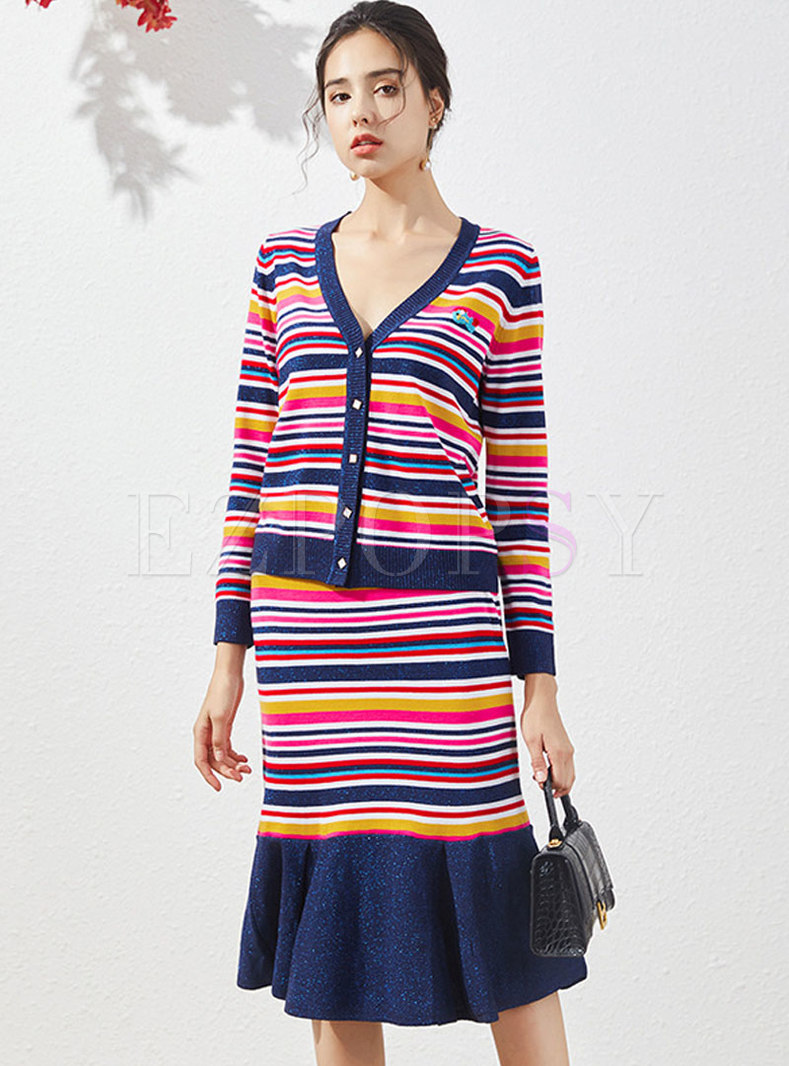 Striped V-neck Knitted Cardigan & Peplum Skirt