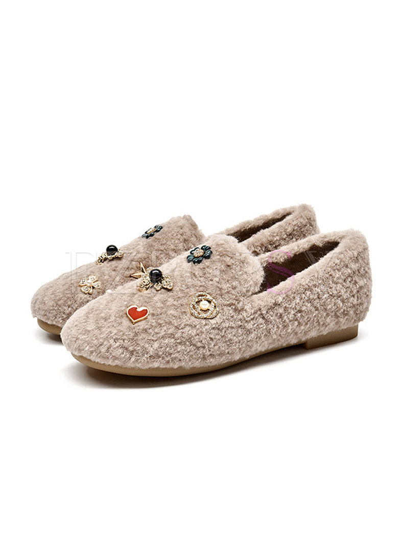 Round Toe Beaded Lambswool Loafers