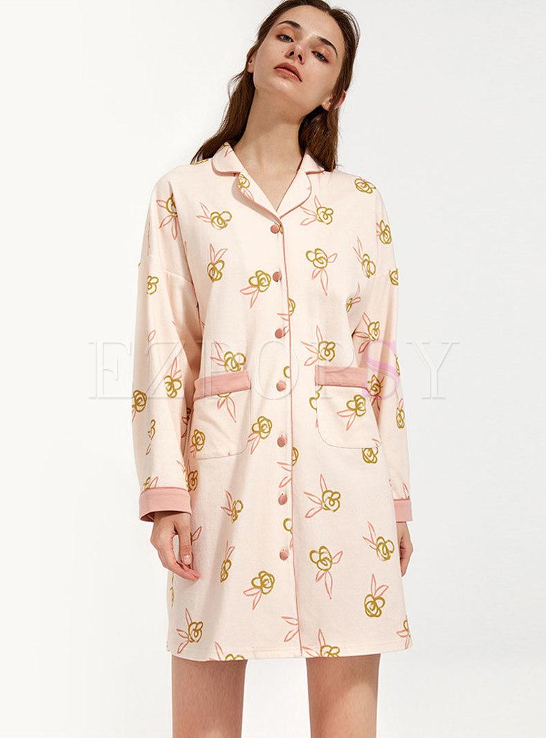 Sweet Pink Cartoon Print Shirt Nightdress