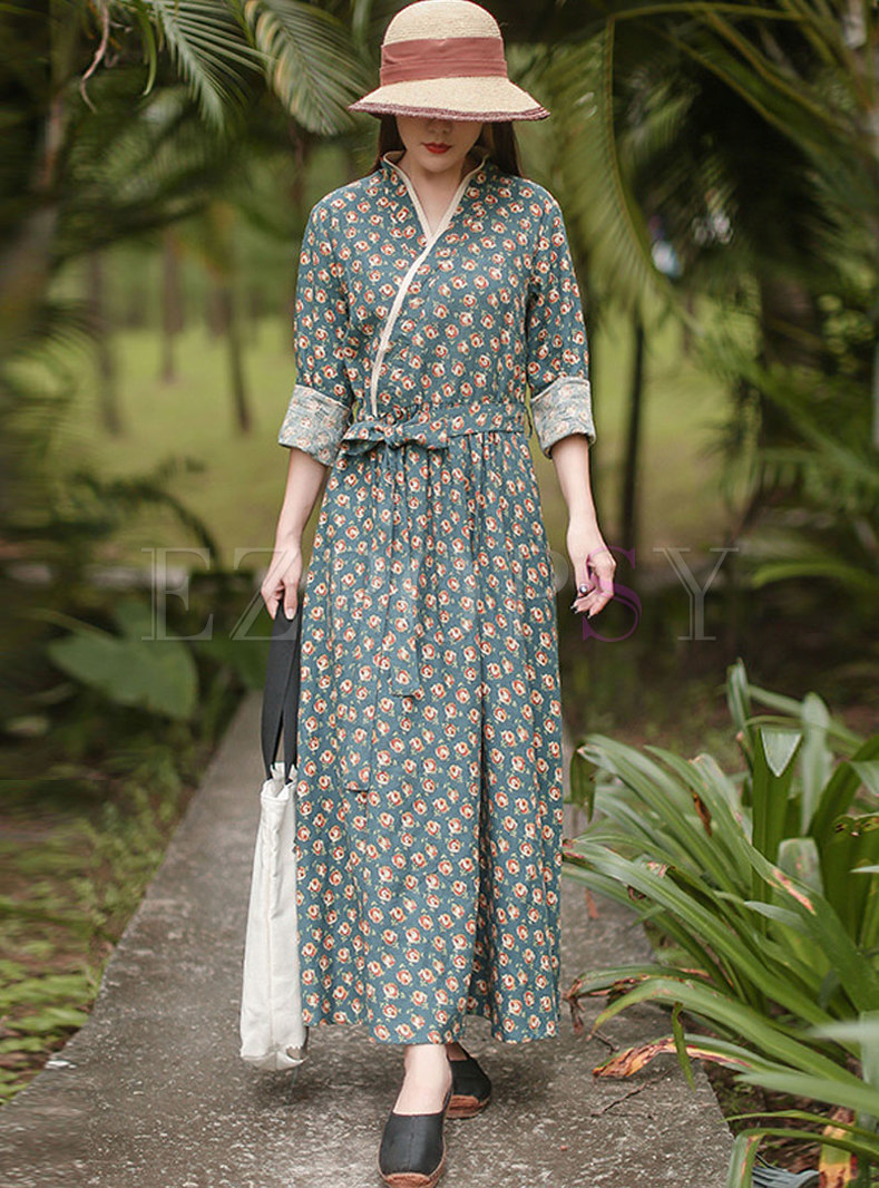 Long Sleeve Print Big Hem Maxi Dress