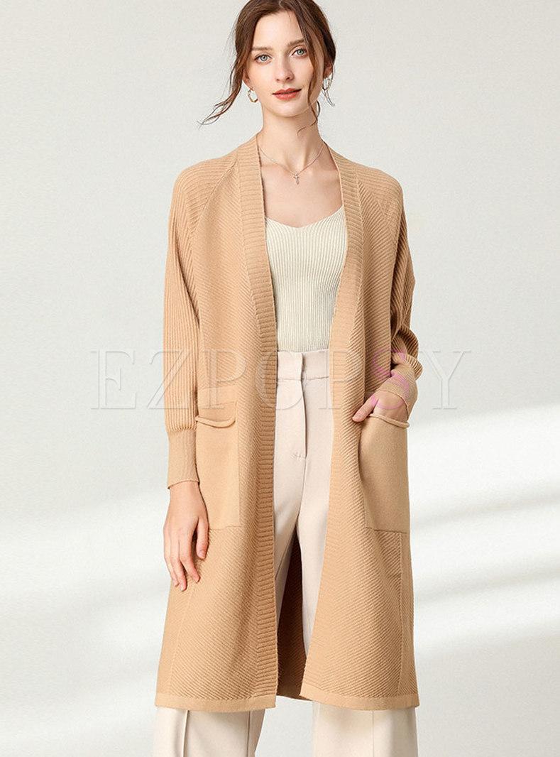Plus Size V-neck Knee-length Sweater Coat