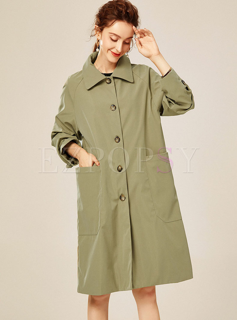 Turn Down Collar Buttoned Knee-length Trench Coat