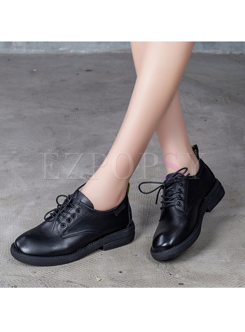 Round Toe Cowhide Flats With Shoelace