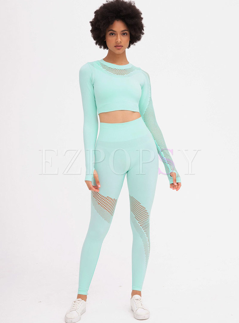 Long Sleeve Openwork Quick-drying Tracksuit