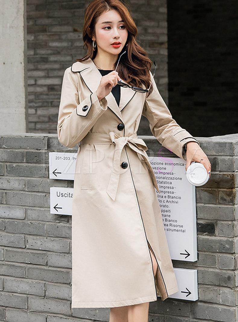 Khaki Lapel Long Straight Trench Coat