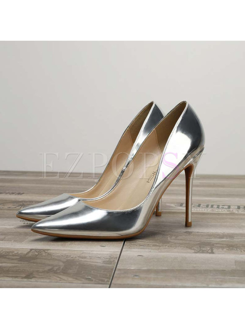 Pointed Toe Patent Leather Low-fronted Pumps