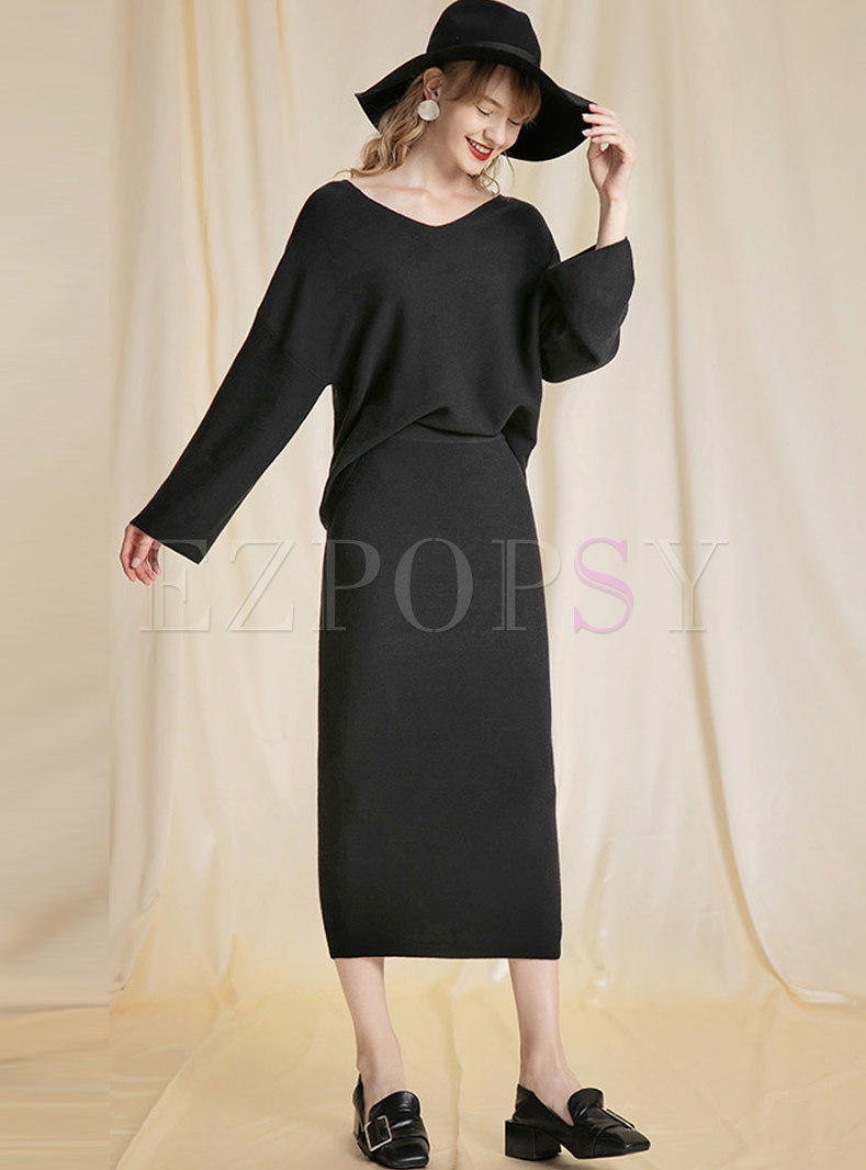 Solid Color V-neck Pullover Sweater Skirt Suits