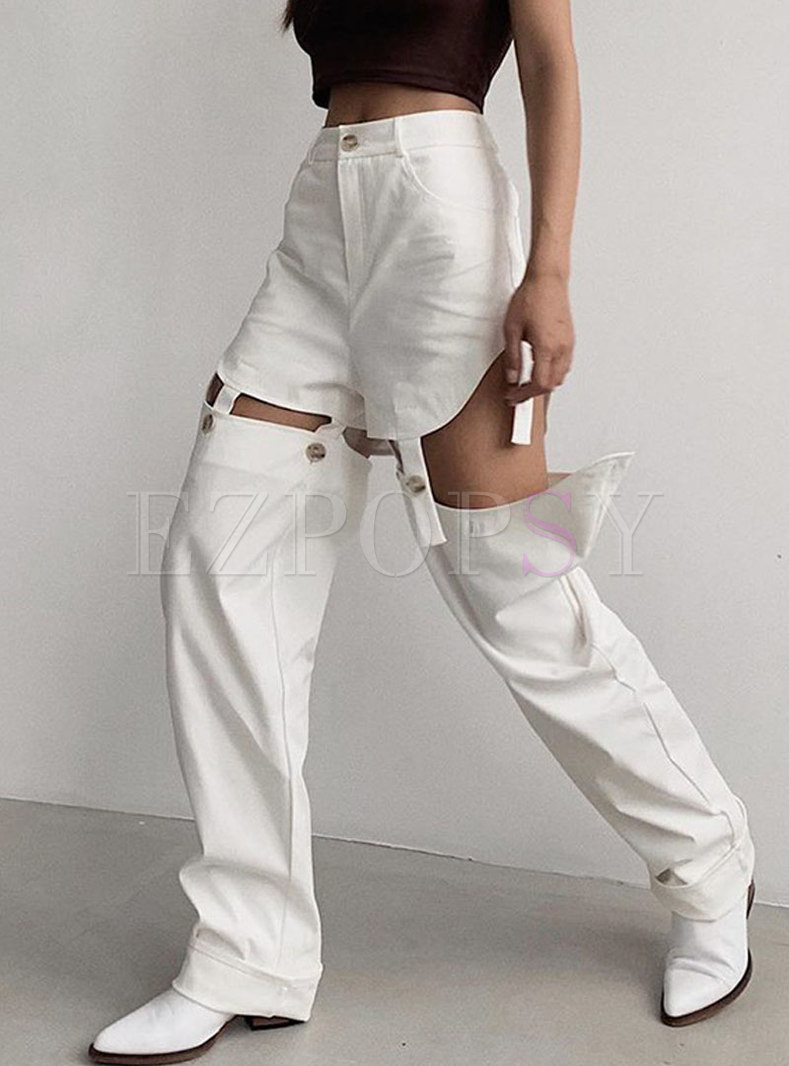 High Waisted Openwork Straight Casual Pants