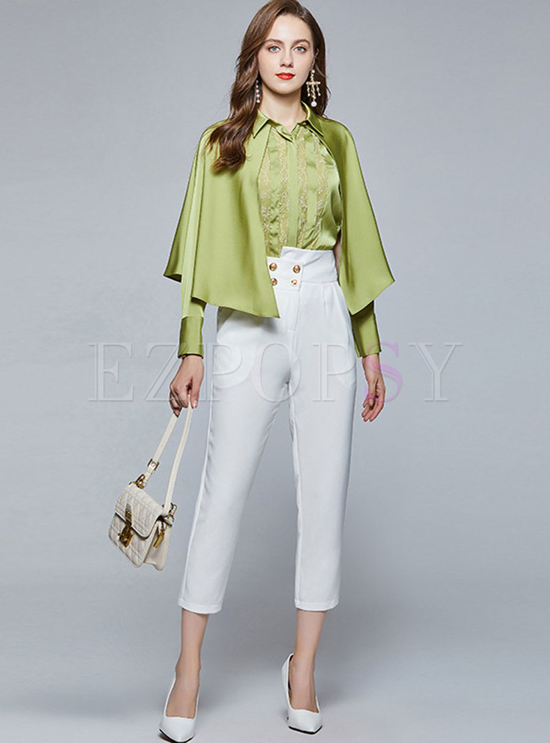 Lace Patchwork Cape Long Sleeve Slim Pant Suits