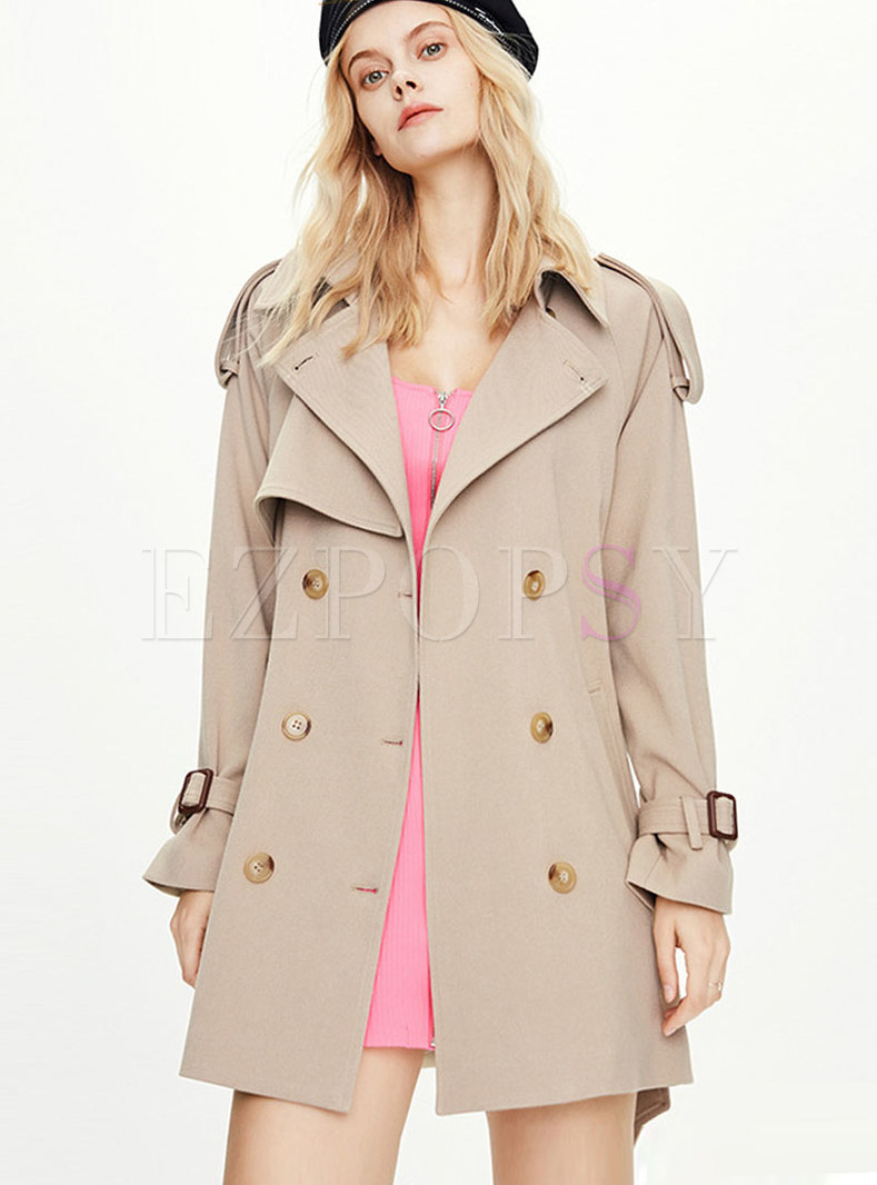 Lapel Double-breasted Straight Trench Coat