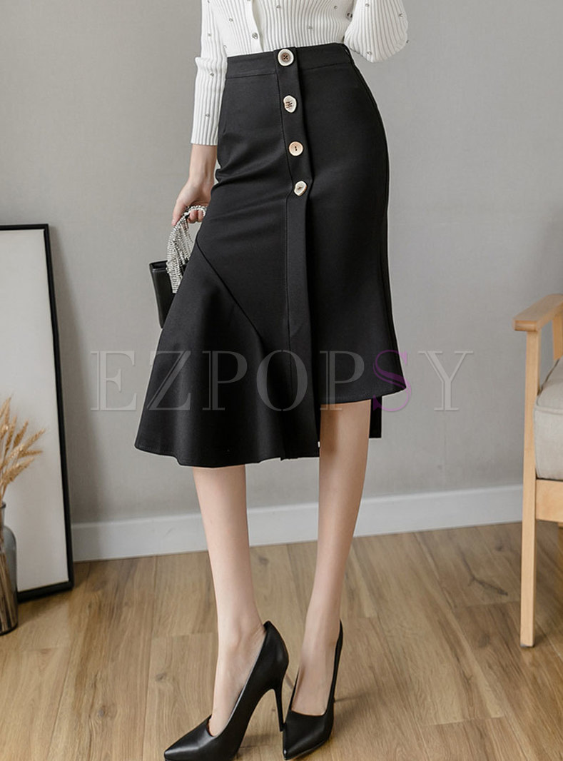 High Waisted Asymmetric Peplum Skirt