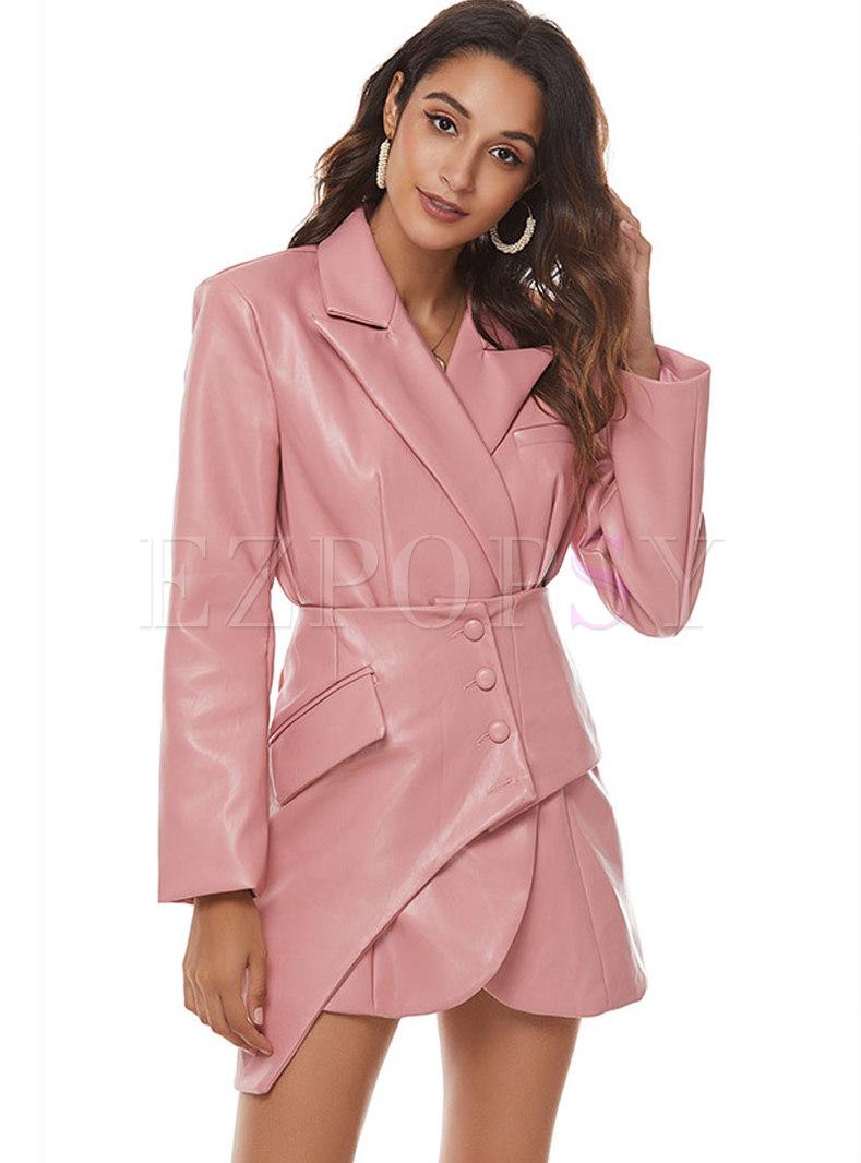 Solid Color PU Mini Bodycon Coat Dress