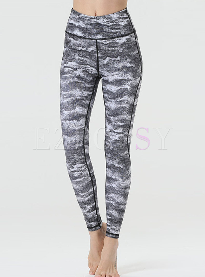 High Waisted Print Quick-drying Yoga Pants