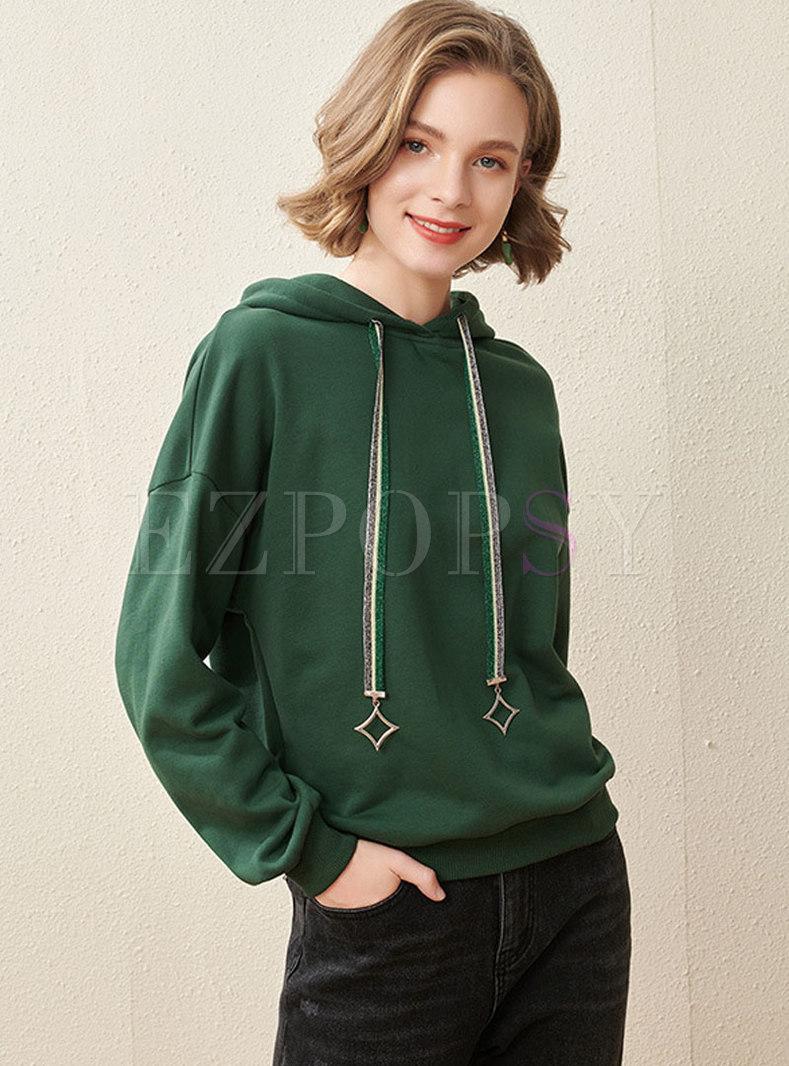 Color Block Drawstring Pullover Casual Hoodie