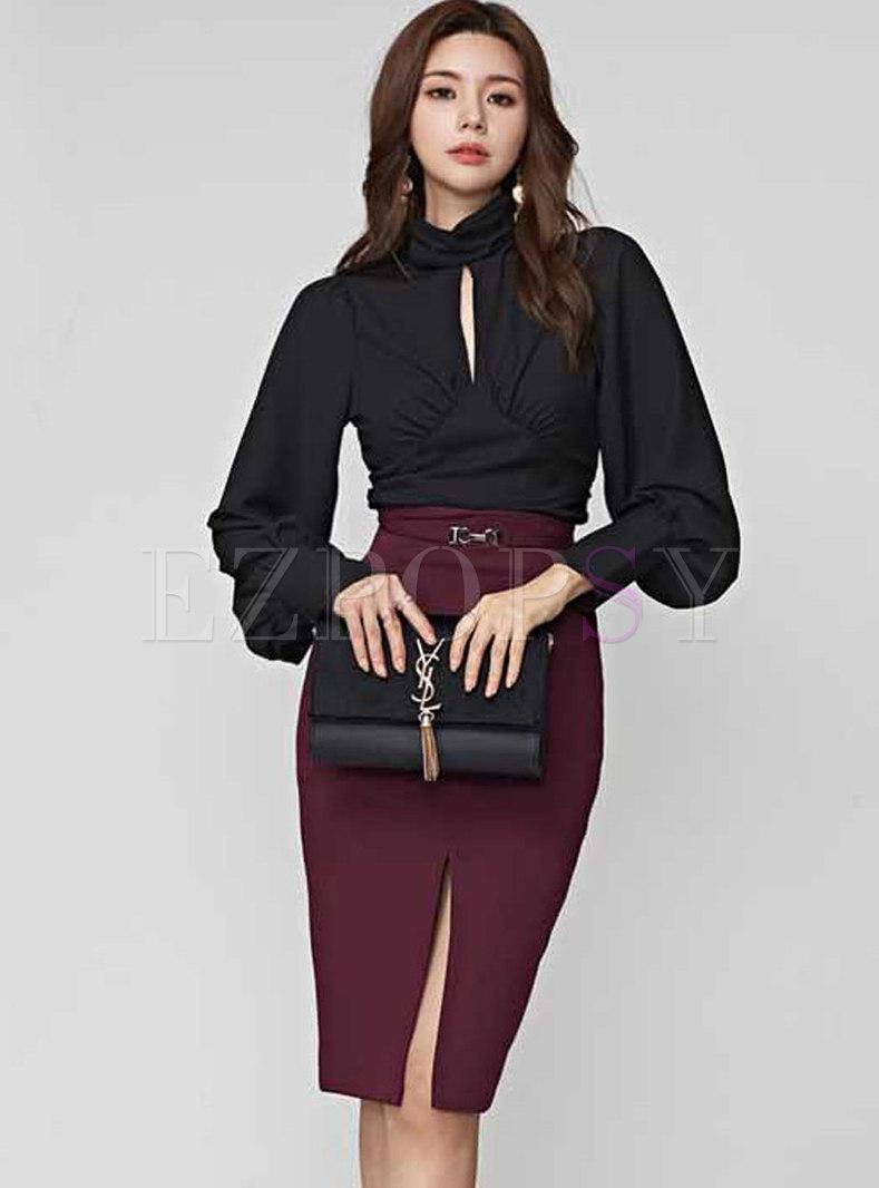 Sexy Lantern Sleeve Top & Split Bodycon Skirt