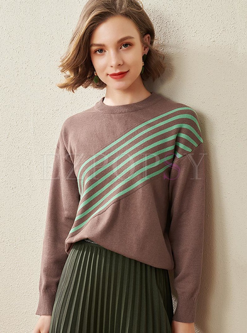 Color Block Striped Crew Neck Sweater