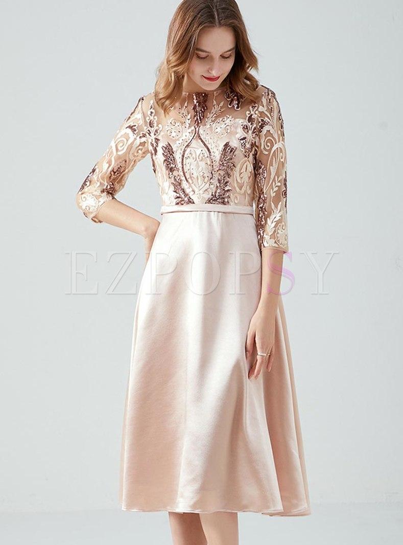 Plus Size Mesh Patchwork Cocktail Dress
