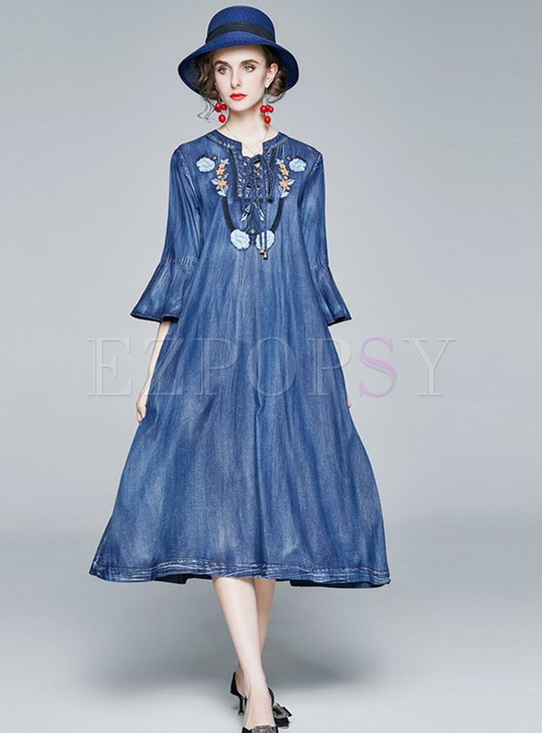 Flare Sleeve Embroidered Denim Shift Dress