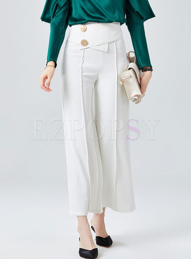 High Waisted Solid Color Wide Leg Pants