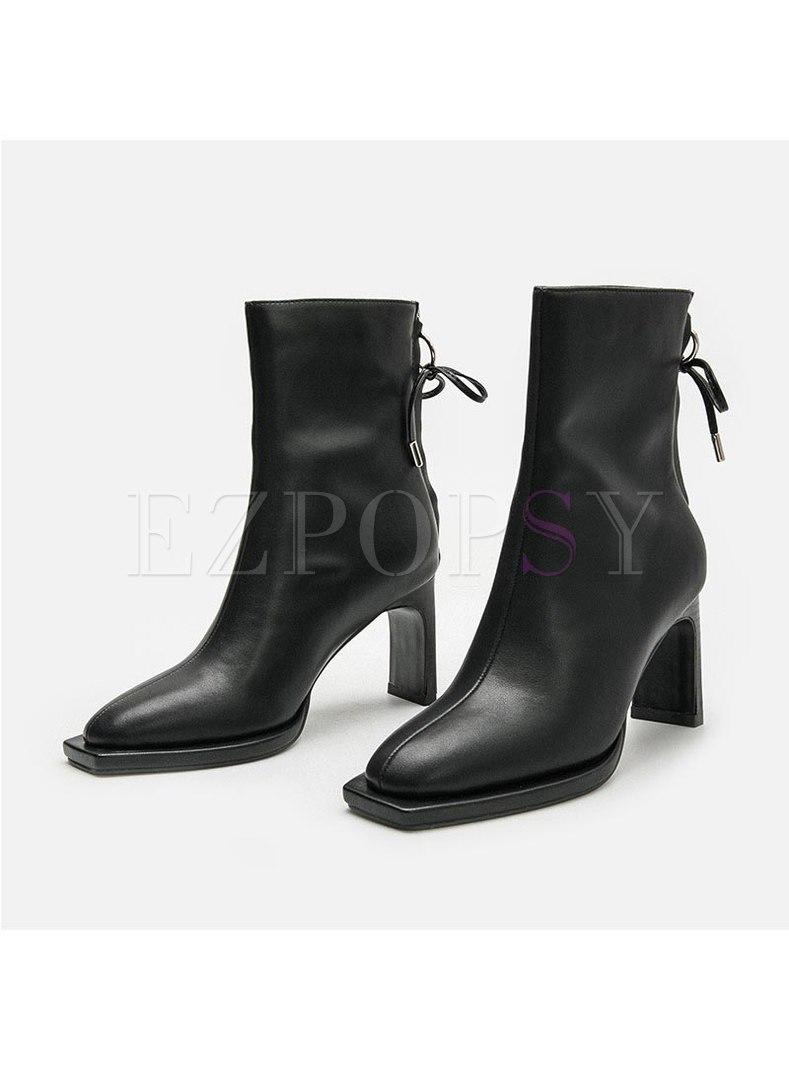 Square Toe Chunky Heel Short Boots