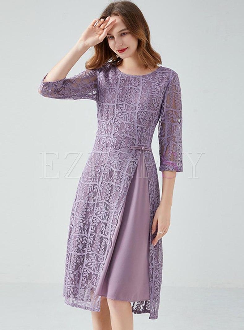 3/4 Sleeve Lace A Line Knee-length Dress