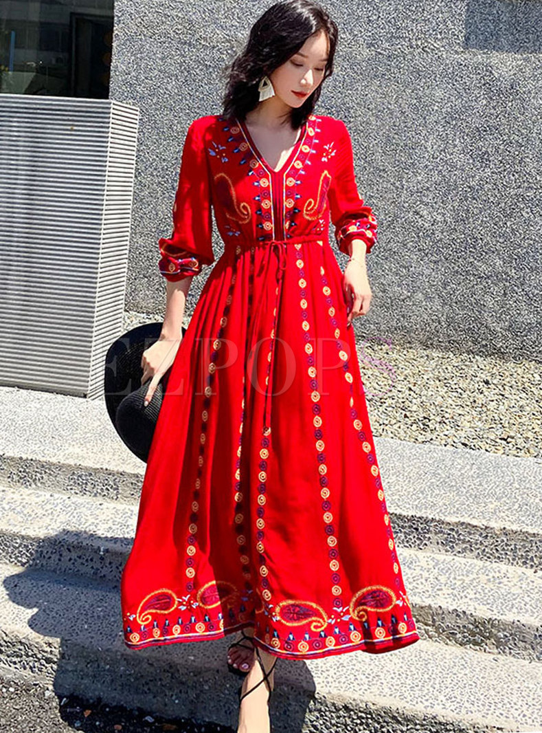 3/4 Sleeve Embroidered Beach Maxi Dress
