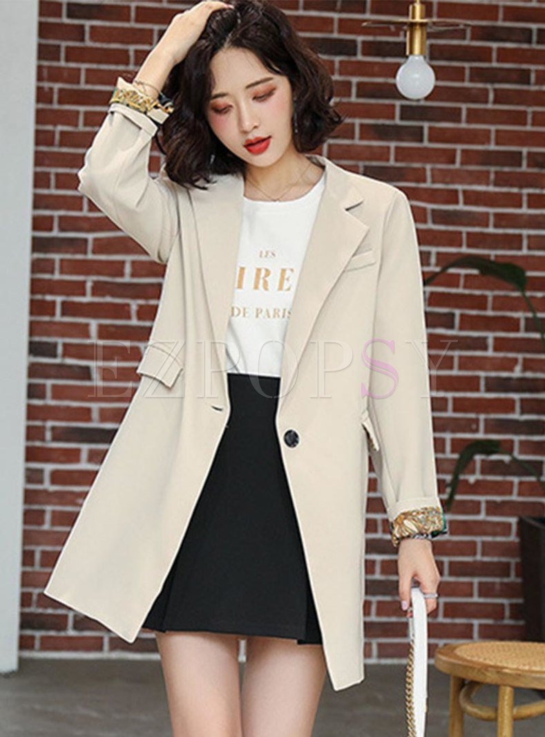 Notched Long Sleeve One Buttoned Blazer