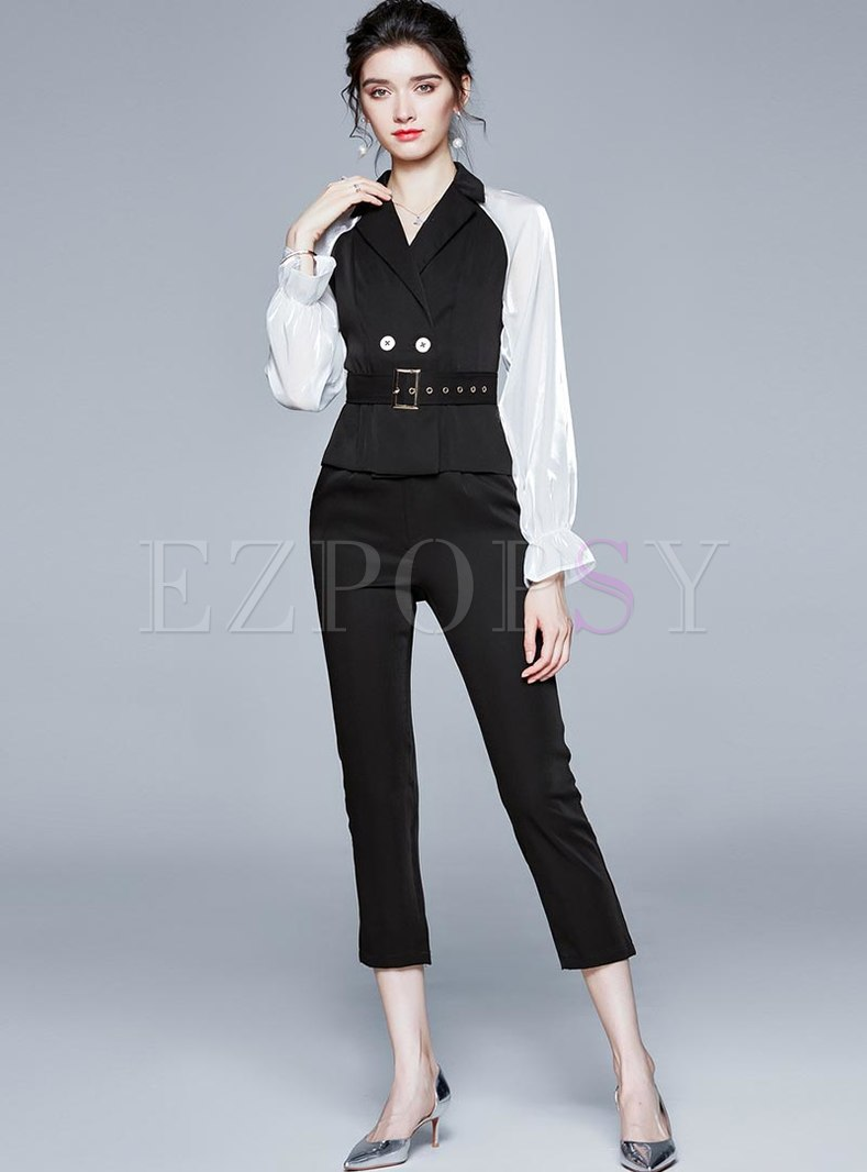 Notched Color-blocked High Waisted Pant Suits