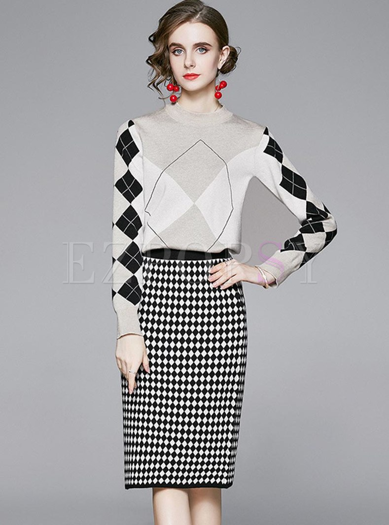 Mock Neck Plaid Sweater Skirt Suits