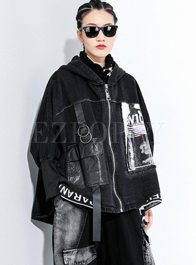 Plus Size Print Washed Denim Hooded Coat